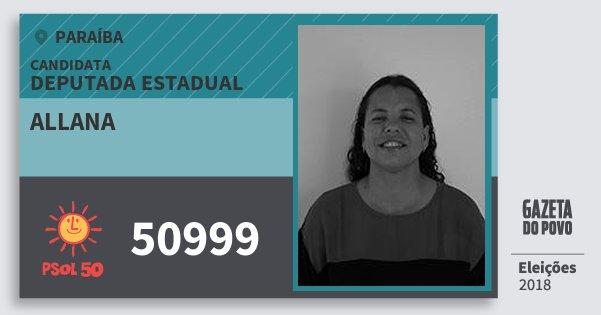 Santinho Allana 50999 (PSOL) Deputada Estadual | Paraíba | Eleições 2018