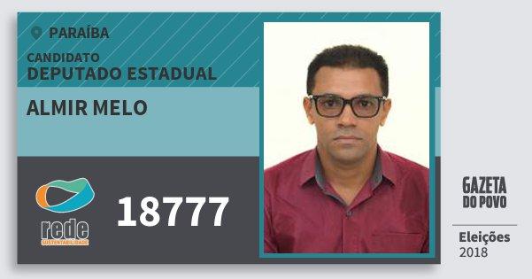 Santinho Almir Melo 18777 (REDE) Deputado Estadual | Paraíba | Eleições 2018