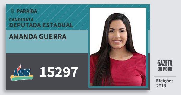Santinho Amanda Guerra 15297 (MDB) Deputada Estadual | Paraíba | Eleições 2018