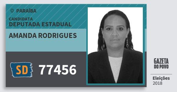 Santinho Amanda Rodrigues 77456 (SOLIDARIEDADE) Deputada Estadual | Paraíba | Eleições 2018