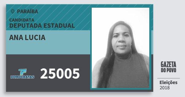 Santinho Ana Lucia 25005 (DEM) Deputada Estadual | Paraíba | Eleições 2018