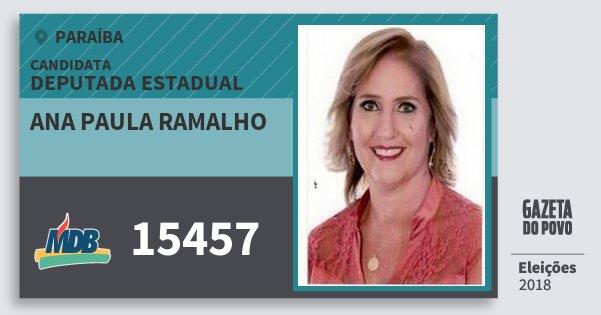 Santinho Ana Paula Ramalho 15457 (MDB) Deputada Estadual | Paraíba | Eleições 2018