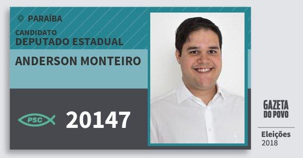 Santinho Anderson Monteiro 20147 (PSC) Deputado Estadual | Paraíba | Eleições 2018