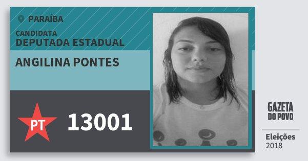 Santinho Angilina Pontes 13001 (PT) Deputada Estadual | Paraíba | Eleições 2018
