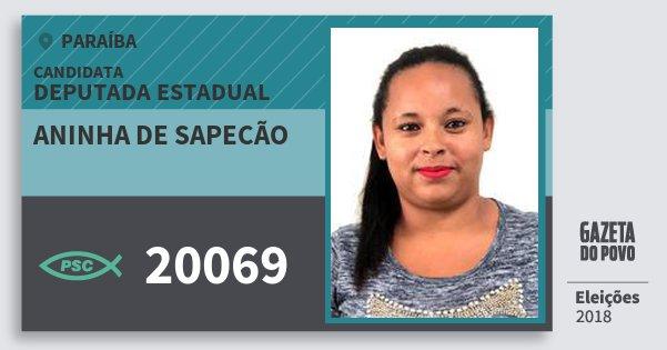 Santinho Aninha de Sapecão 20069 (PSC) Deputada Estadual | Paraíba | Eleições 2018