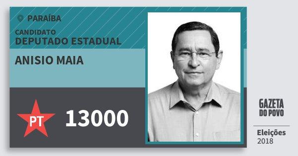 Santinho Anisio Maia 13000 (PT) Deputado Estadual | Paraíba | Eleições 2018