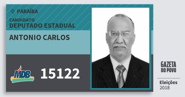 Santinho Antonio Carlos 15122 (MDB) Deputado Estadual | Paraíba | Eleições 2018
