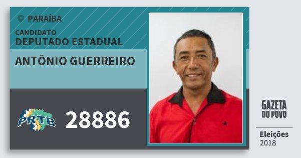 Santinho Antônio Guerreiro 28886 (PRTB) Deputado Estadual | Paraíba | Eleições 2018
