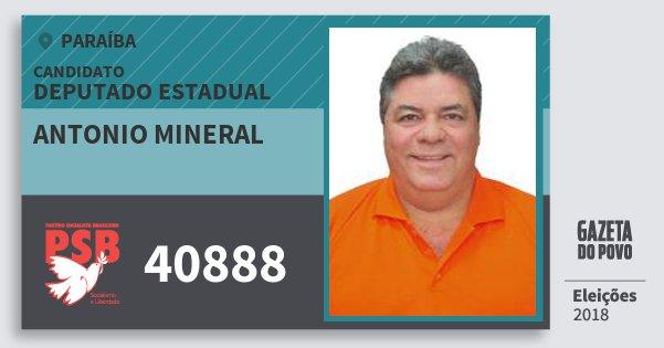 Santinho Antonio Mineral 40888 (PSB) Deputado Estadual | Paraíba | Eleições 2018