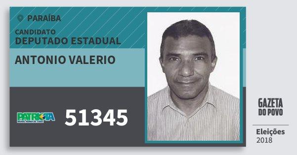 Santinho Antonio Valerio 51345 (PATRI) Deputado Estadual | Paraíba | Eleições 2018