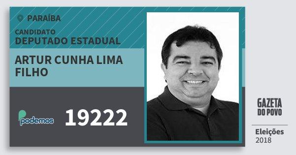 Santinho Artur Cunha Lima Filho 19222 (PODE) Deputado Estadual | Paraíba | Eleições 2018