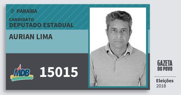 Santinho Aurian Lima 15015 (MDB) Deputado Estadual | Paraíba | Eleições 2018