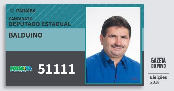 Santinho Balduino 51111 (PATRI) Deputado Estadual | Paraíba | Eleições 2018