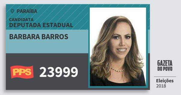 Santinho Barbara Barros 23999 (PPS) Deputada Estadual | Paraíba | Eleições 2018