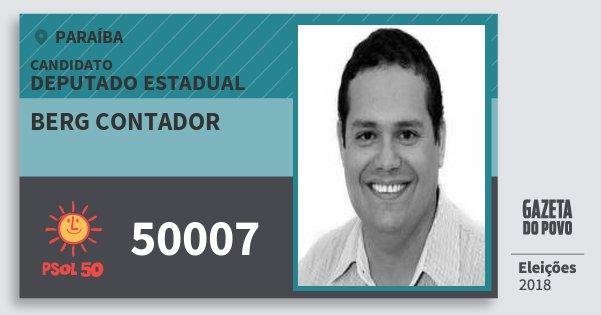 Santinho Berg Contador 50007 (PSOL) Deputado Estadual | Paraíba | Eleições 2018