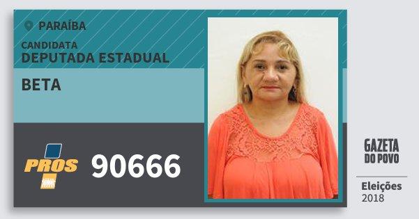 Santinho Beta 90666 (PROS) Deputada Estadual | Paraíba | Eleições 2018