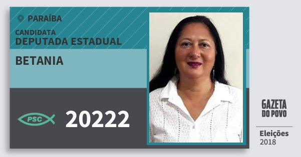 Santinho Betania 20222 (PSC) Deputada Estadual | Paraíba | Eleições 2018