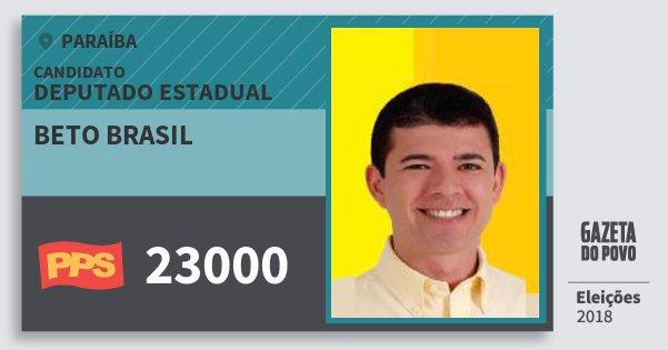 Santinho Beto Brasil 23000 (PPS) Deputado Estadual | Paraíba | Eleições 2018