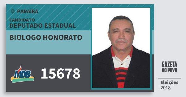 Santinho Biologo Honorato 15678 (MDB) Deputado Estadual | Paraíba | Eleições 2018