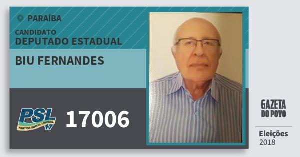 Santinho Biu Fernandes 17006 (PSL) Deputado Estadual | Paraíba | Eleições 2018