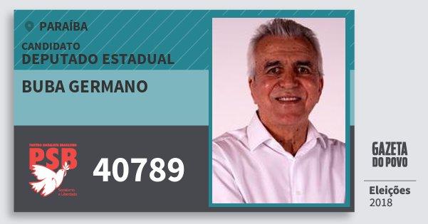 Santinho Buba Germano 40789 (PSB) Deputado Estadual | Paraíba | Eleições 2018