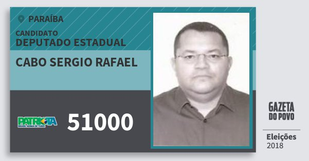 Santinho Cabo Sergio Rafael 51000 (PATRI) Deputado Estadual | Paraíba | Eleições 2018