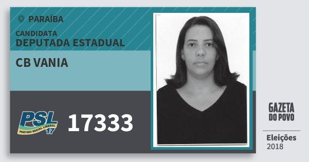 Santinho Cb Vania 17333 (PSL) Deputada Estadual | Paraíba | Eleições 2018