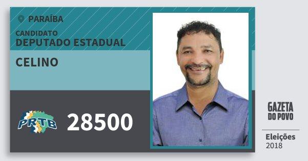 Santinho Celino 28500 (PRTB) Deputado Estadual | Paraíba | Eleições 2018