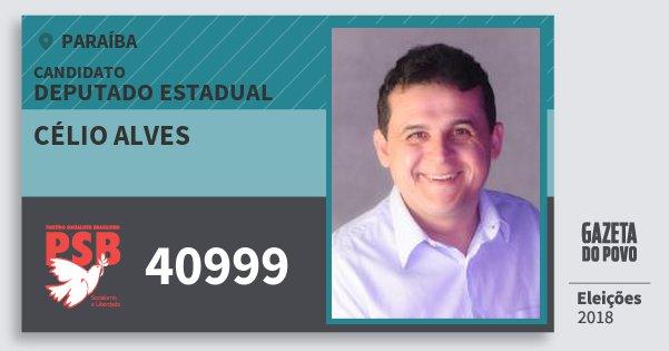 Santinho Célio Alves 40999 (PSB) Deputado Estadual | Paraíba | Eleições 2018