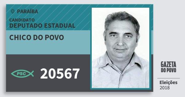 Santinho Chico do Povo 20567 (PSC) Deputado Estadual | Paraíba | Eleições 2018