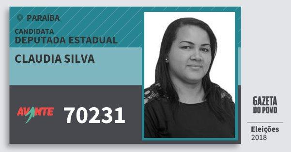 Santinho Claudia Silva 70231 (AVANTE) Deputada Estadual | Paraíba | Eleições 2018