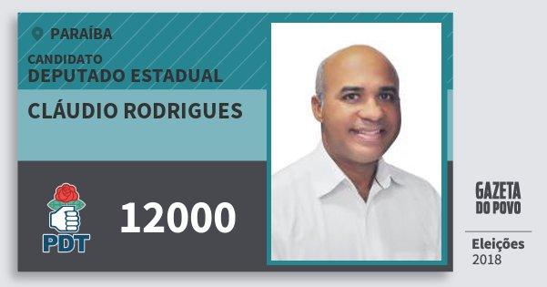 Santinho Cláudio Rodrigues 12000 (PDT) Deputado Estadual | Paraíba | Eleições 2018