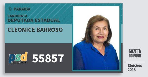 Santinho Cleonice Barroso 55857 (PSD) Deputada Estadual | Paraíba | Eleições 2018