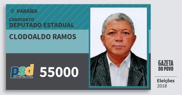 Santinho Clodoaldo Ramos 55000 (PSD) Deputado Estadual | Paraíba | Eleições 2018