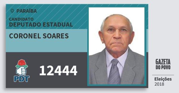 Santinho Coronel Soares 12444 (PDT) Deputado Estadual | Paraíba | Eleições 2018
