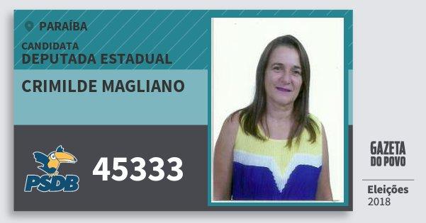 Santinho Crimilde Magliano 45333 (PSDB) Deputada Estadual | Paraíba | Eleições 2018