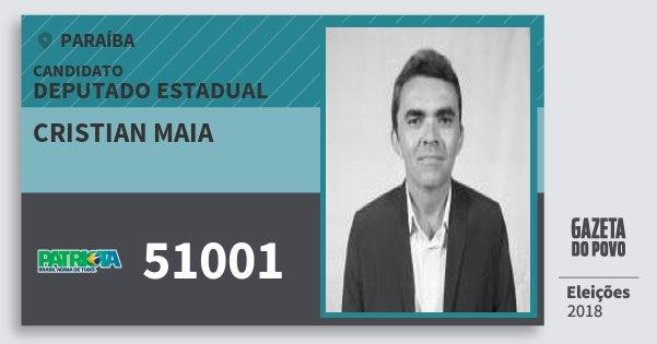 Santinho Cristian Maia 51001 (PATRI) Deputado Estadual | Paraíba | Eleições 2018