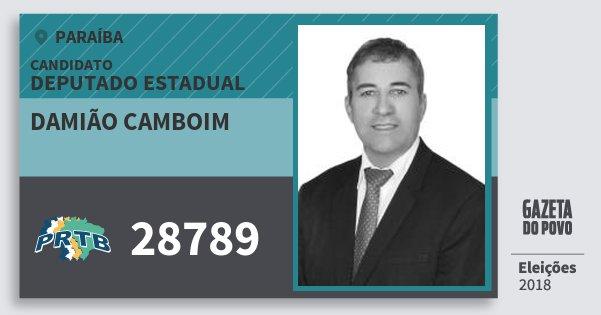 Santinho Damião Camboim 28789 (PRTB) Deputado Estadual | Paraíba | Eleições 2018