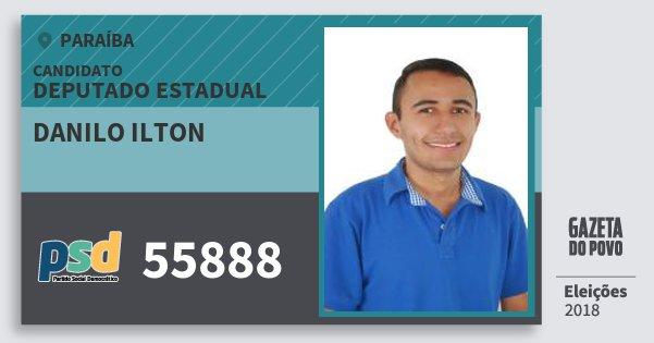 Santinho Danilo Ilton 55888 (PSD) Deputado Estadual | Paraíba | Eleições 2018