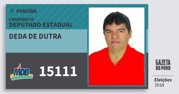 Santinho Deda de Dutra 15111 (MDB) Deputado Estadual | Paraíba | Eleições 2018