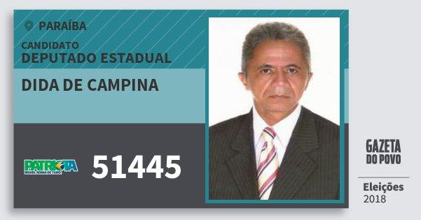 Santinho Dida de Campina 51445 (PATRI) Deputado Estadual | Paraíba | Eleições 2018