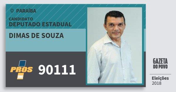 Santinho Dimas de Souza 90111 (PROS) Deputado Estadual | Paraíba | Eleições 2018