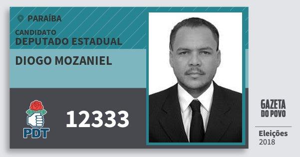 Santinho Diogo Mozaniel 12333 (PDT) Deputado Estadual | Paraíba | Eleições 2018