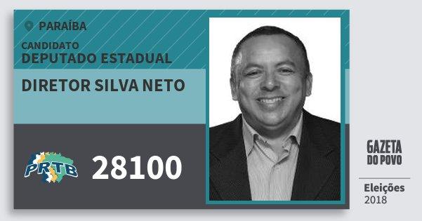 Santinho Diretor Silva Neto 28100 (PRTB) Deputado Estadual | Paraíba | Eleições 2018