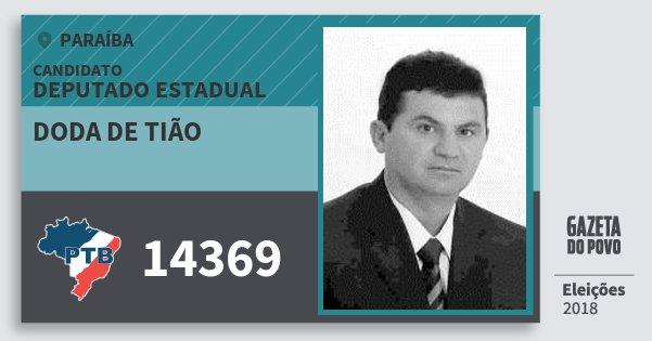 Santinho Doda de Tião 14369 (PTB) Deputado Estadual | Paraíba | Eleições 2018