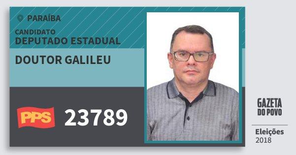 Santinho Doutor Galileu 23789 (PPS) Deputado Estadual | Paraíba | Eleições 2018