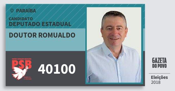 Santinho Doutor Romualdo 40100 (PSB) Deputado Estadual | Paraíba | Eleições 2018