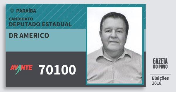 Santinho Dr Americo 70100 (AVANTE) Deputado Estadual | Paraíba | Eleições 2018