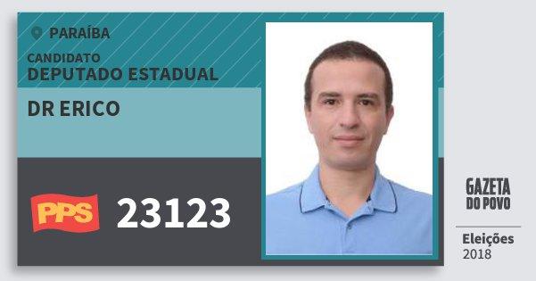 Santinho Dr Erico 23123 (PPS) Deputado Estadual | Paraíba | Eleições 2018