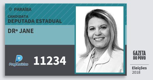 Santinho Drª Jane 11234 (PP) Deputada Estadual   Paraíba   Eleições 2018